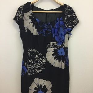 Elie Tahari Black Floral Print Sheath Dress - 10